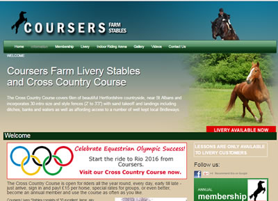 Coursers Farm Stables - website design St Albans
